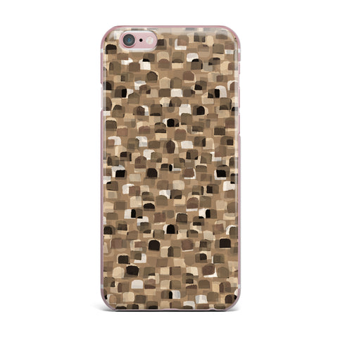 "Ebi Emporium ""SEEING SPOTS 11"" Brown Tan Polkadot Pattern Watercolor Mixed Media iPhone Case"
