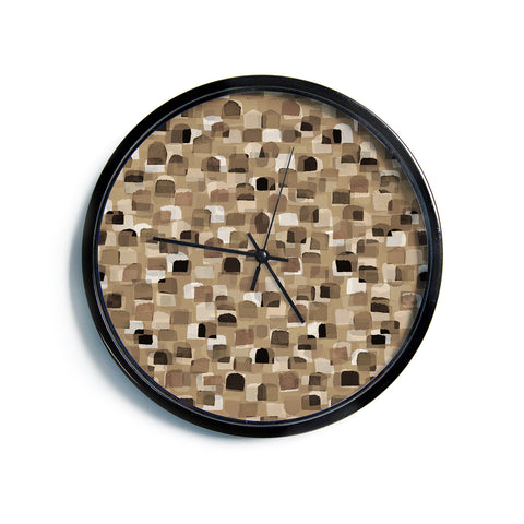 "Ebi Emporium ""SEEING SPOTS 11"" Brown Tan Polkadot Pattern Watercolor Mixed Media Modern Wall Clock"