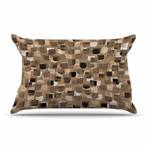 "Ebi Emporium ""SEEING SPOTS 11"" Brown Tan Polkadot Pattern Watercolor Mixed Media Pillow Sham"