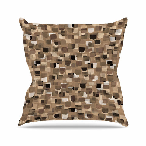 "Ebi Emporium ""SEEING SPOTS 11"" Brown Tan Polkadot Pattern Watercolor Mixed Media Throw Pillow"
