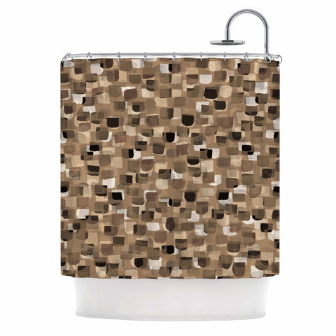 "Ebi Emporium ""SEEING SPOTS 11"" Brown Tan Polkadot Pattern Watercolor Mixed Media Shower Curtain"