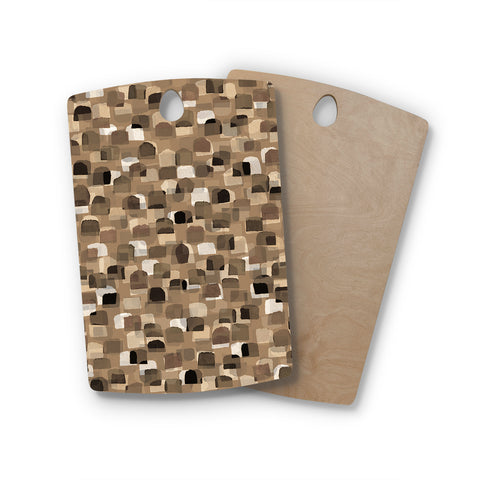 "Ebi Emporium ""SEEING SPOTS 11"" Brown Tan Polkadot Pattern Watercolor Mixed Media Rectangle Wooden Cutting Board"