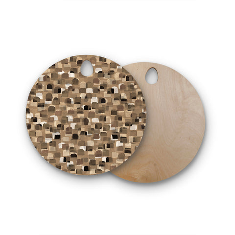 "Ebi Emporium ""SEEING SPOTS 11"" Brown Tan Polkadot Pattern Watercolor Mixed Media Round Wooden Cutting Board"