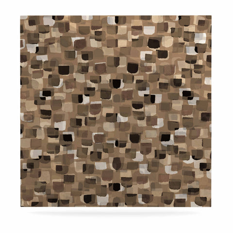 "Ebi Emporium ""SEEING SPOTS 11"" Brown Tan Polkadot Pattern Watercolor Mixed Media Luxe Square Panel"
