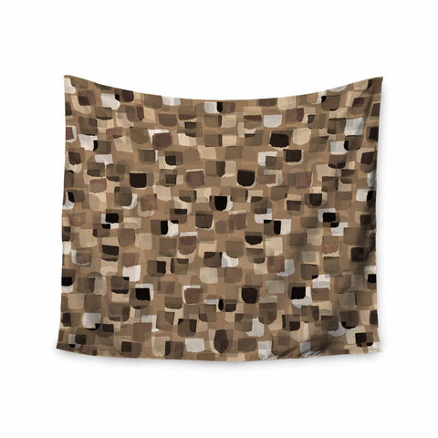 "Ebi Emporium ""SEEING SPOTS 11"" Brown Tan Polkadot Pattern Watercolor Mixed Media Wall Tapestry"