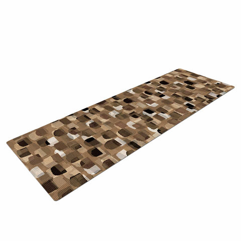 "Ebi Emporium ""SEEING SPOTS 11"" Brown Tan Polkadot Pattern Watercolor Mixed Media Yoga Mat"