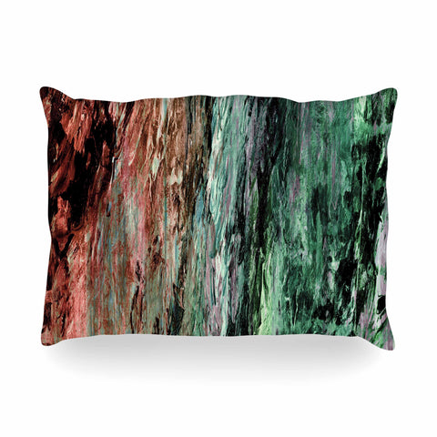 "Ebi Emporium ""RAINBOW BARK 2"" Green Red Abstract Nature Painting Mixed Media Oblong Pillow"