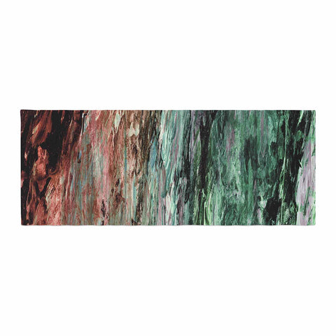 "Ebi Emporium ""RAINBOW BARK 2"" Green Red Abstract Nature Painting Mixed Media Bed Runner"