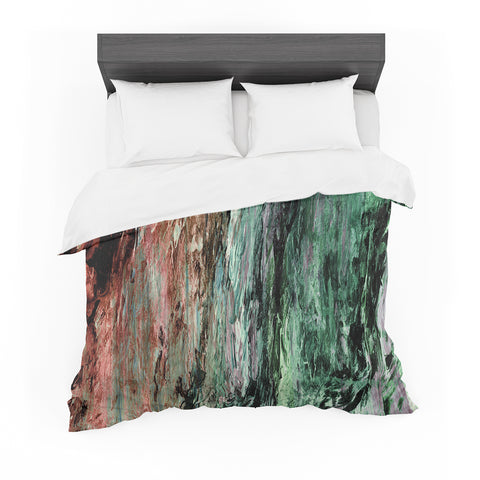 "Ebi Emporium ""RAINBOW BARK 2"" Green Red Abstract Nature Painting Mixed Media Featherweight Duvet Cover"