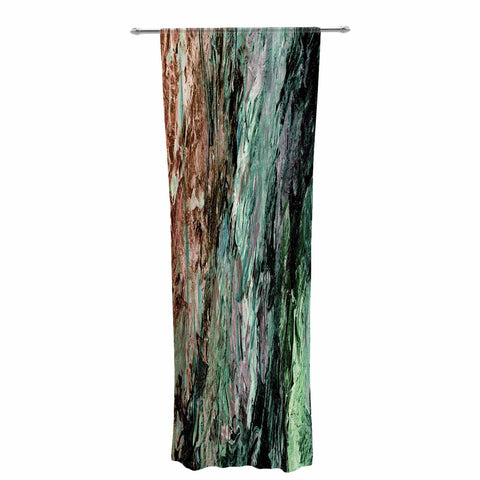 "Ebi Emporium ""RAINBOW BARK 2"" Green Red Abstract Nature Painting Mixed Media Decorative Sheer Curtain"