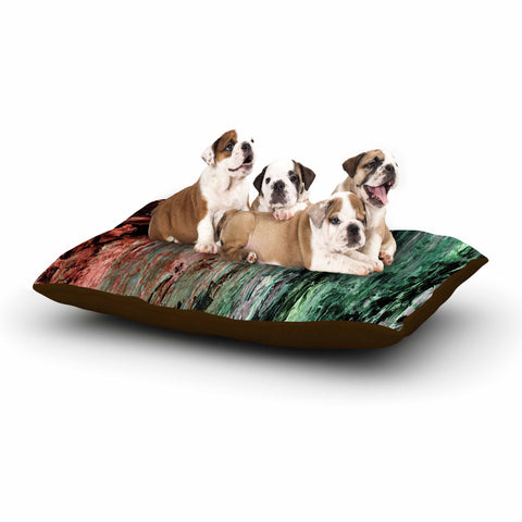 "Ebi Emporium ""RAINBOW BARK 2"" Green Red Abstract Nature Painting Mixed Media Dog Bed"
