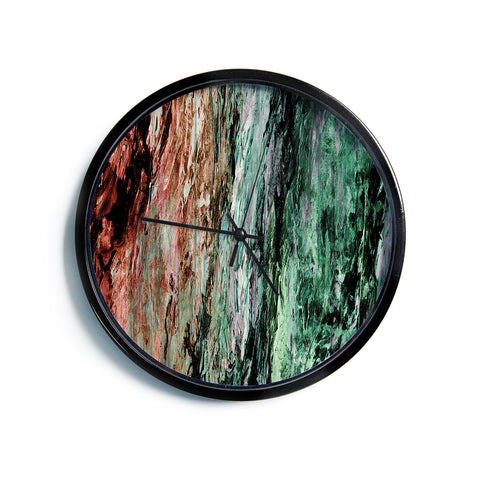 "Ebi Emporium ""RAINBOW BARK 2"" Green Red Abstract Nature Painting Mixed Media Modern Wall Clock"