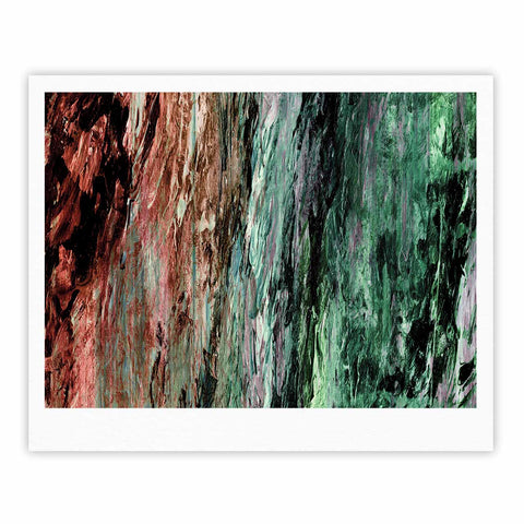 "Ebi Emporium ""RAINBOW BARK 2"" Green Red Abstract Nature Painting Mixed Media Fine Art Gallery Print"