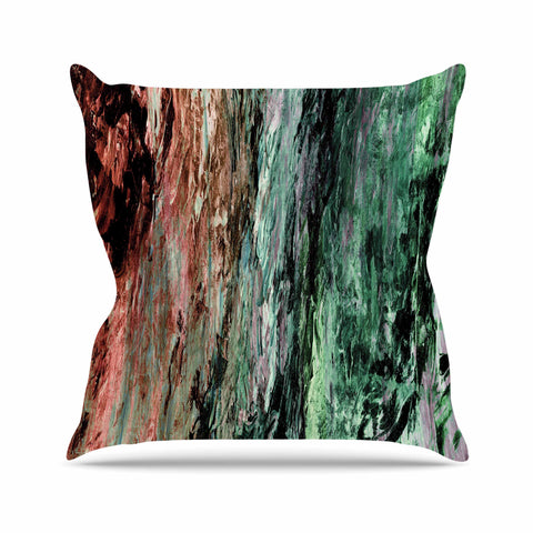 "Ebi Emporium ""RAINBOW BARK 2"" Green Red Abstract Nature Painting Mixed Media Outdoor Throw Pillow"