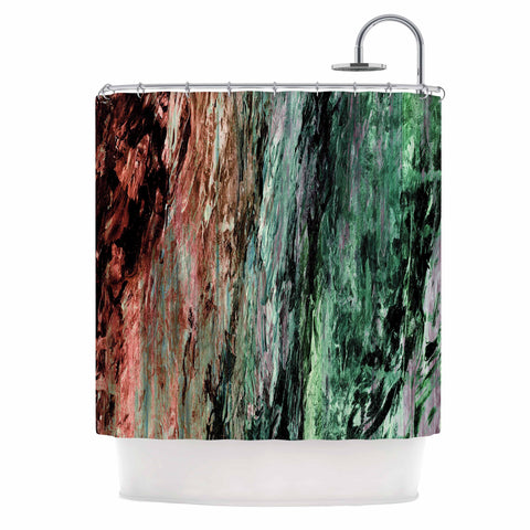 "Ebi Emporium ""RAINBOW BARK 2"" Green Red Abstract Nature Painting Mixed Media Shower Curtain"