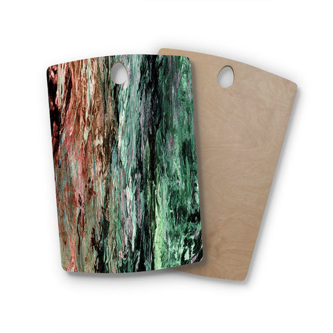 "Ebi Emporium ""RAINBOW BARK 2"" Green Red Abstract Nature Painting Mixed Media Rectangle Wooden Cutting Board"