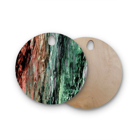 "Ebi Emporium ""RAINBOW BARK 2"" Green Red Abstract Nature Painting Mixed Media Round Wooden Cutting Board"