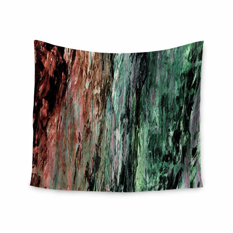 "Ebi Emporium ""RAINBOW BARK 2"" Green Red Abstract Nature Painting Mixed Media Wall Tapestry"