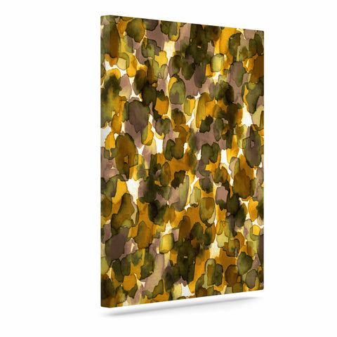 "Ebi Emporium ""WILD THING, YELLOW BROWN"" Yellow Brown Animal Print Abstract Watercolor Mixed Media Art Canvas"