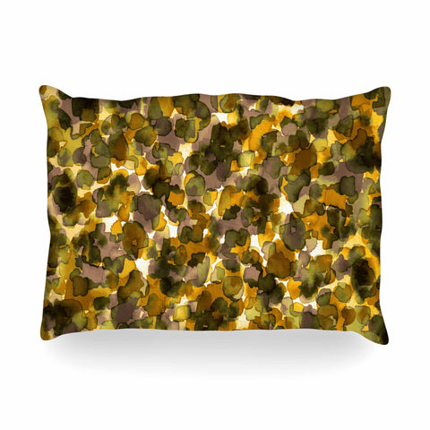 "Ebi Emporium ""WILD THING, YELLOW BROWN"" Yellow Brown Animal Print Abstract Watercolor Mixed Media Oblong Pillow"