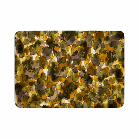 "Ebi Emporium ""WILD THING, YELLOW BROWN"" Yellow Brown Animal Print Abstract Watercolor Mixed Media Memory Foam Bath Mat"