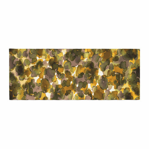 "Ebi Emporium ""WILD THING, YELLOW BROWN"" Yellow Brown Animal Print Abstract Watercolor Mixed Media Bed Runner"