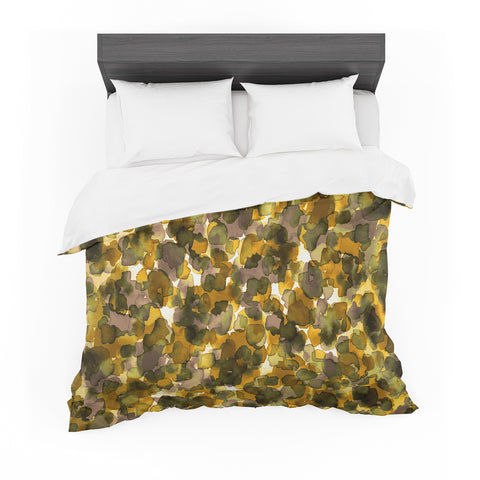 "Ebi Emporium ""WILD THING, YELLOW BROWN"" Yellow Brown Animal Print Abstract Watercolor Mixed Media Featherweight Duvet Cover"