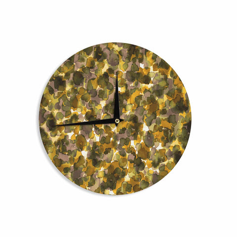 "Ebi Emporium ""WILD THING, YELLOW BROWN"" Yellow Brown Animal Print Abstract Watercolor Mixed Media Wall Clock"