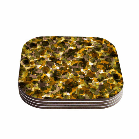 "Ebi Emporium ""WILD THING, YELLOW BROWN"" Yellow Brown Animal Print Abstract Watercolor Mixed Media Coasters (Set of 4)"
