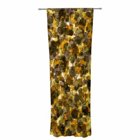 "Ebi Emporium ""WILD THING, YELLOW BROWN"" Yellow Brown Animal Print Abstract Watercolor Mixed Media Decorative Sheer Curtain"