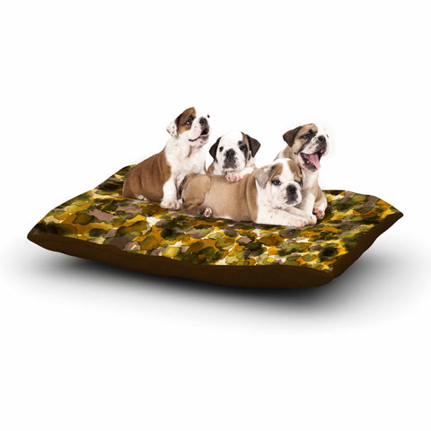 "Ebi Emporium ""WILD THING, YELLOW BROWN"" Yellow Brown Animal Print Abstract Watercolor Mixed Media Dog Bed"