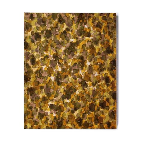 "Ebi Emporium ""WILD THING, YELLOW BROWN"" Yellow Brown Animal Print Abstract Watercolor Mixed Media Birchwood Wall Art"