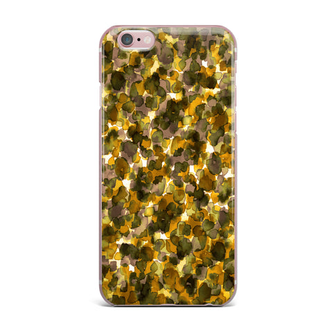"Ebi Emporium ""WILD THING, YELLOW BROWN"" Yellow Brown Animal Print Abstract Watercolor Mixed Media iPhone Case"