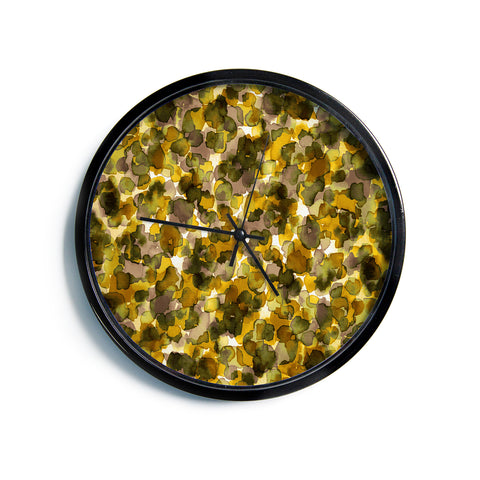 "Ebi Emporium ""WILD THING, YELLOW BROWN"" Yellow Brown Animal Print Abstract Watercolor Mixed Media Modern Wall Clock"