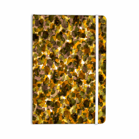 "Ebi Emporium ""WILD THING, YELLOW BROWN"" Yellow Brown Animal Print Abstract Watercolor Mixed Media Everything Notebook"