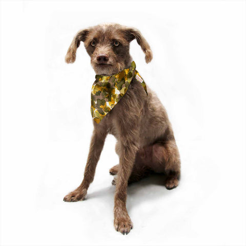 "Ebi Emporium ""WILD THING, YELLOW BROWN"" Yellow Brown Animal Print Abstract Watercolor Mixed Media Pet Bandana"