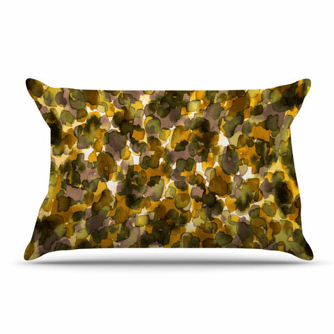 "Ebi Emporium ""WILD THING, YELLOW BROWN"" Yellow Brown Animal Print Abstract Watercolor Mixed Media Pillow Sham"