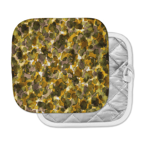 "Ebi Emporium ""WILD THING, YELLOW BROWN"" Yellow Brown Animal Print Abstract Watercolor Mixed Media Pot Holder"