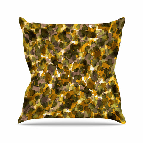 "Ebi Emporium ""WILD THING, YELLOW BROWN"" Yellow Brown Animal Print Abstract Watercolor Mixed Media Throw Pillow"