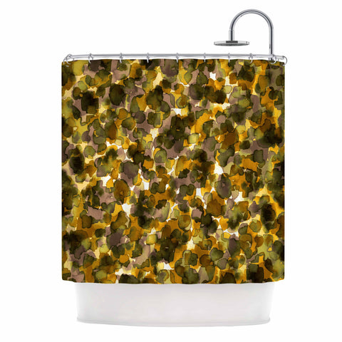 "Ebi Emporium ""WILD THING, YELLOW BROWN"" Yellow Brown Animal Print Abstract Watercolor Mixed Media Shower Curtain"
