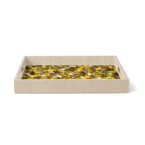 "Ebi Emporium ""WILD THING, YELLOW BROWN"" Yellow Brown Animal Print Abstract Watercolor Mixed Media Birchwood Tray"