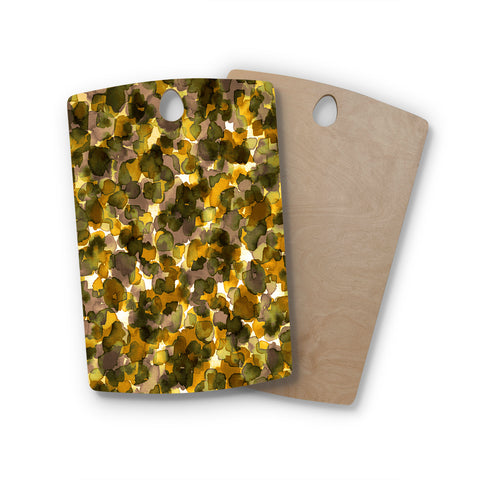 "Ebi Emporium ""WILD THING, YELLOW BROWN"" Yellow Brown Animal Print Abstract Watercolor Mixed Media Rectangle Wooden Cutting Board"