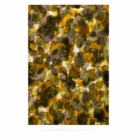 "Ebi Emporium ""WILD THING, YELLOW BROWN"" Yellow Brown Animal Print Abstract Watercolor Mixed Media Luxe Rectangle Panel"