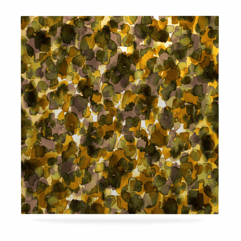 "Ebi Emporium ""WILD THING, YELLOW BROWN"" Yellow Brown Animal Print Abstract Watercolor Mixed Media Luxe Square Panel"