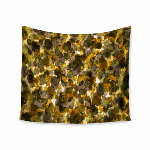 "Ebi Emporium ""WILD THING, YELLOW BROWN"" Yellow Brown Animal Print Abstract Watercolor Mixed Media Wall Tapestry"