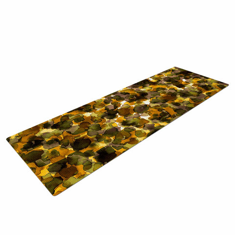 "Ebi Emporium ""WILD THING, YELLOW BROWN"" Yellow Brown Animal Print Abstract Watercolor Mixed Media Yoga Mat"
