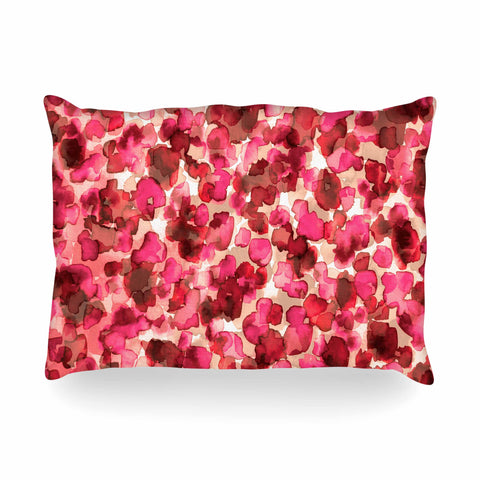 "Ebi Emporium ""WILD THING, RED PINK"" Red Pink Animal Print Abstract Watercolor Mixed Media Oblong Pillow"