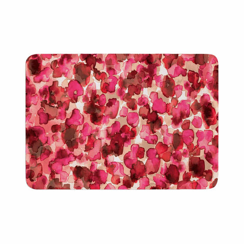 "Ebi Emporium ""WILD THING, RED PINK"" Red Pink Animal Print Abstract Watercolor Mixed Media Memory Foam Bath Mat"