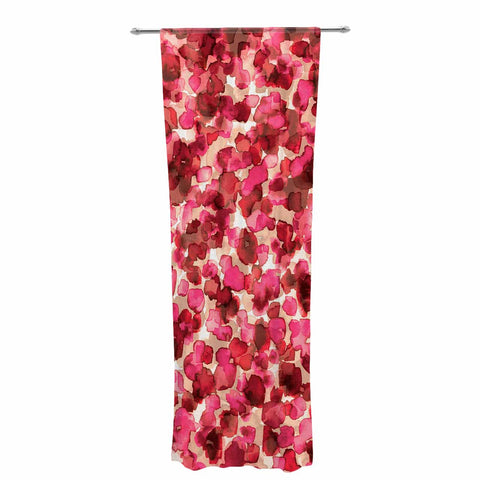 "Ebi Emporium ""WILD THING, RED PINK"" Red Pink Animal Print Abstract Watercolor Mixed Media Decorative Sheer Curtain"