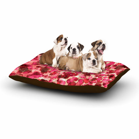 "Ebi Emporium ""WILD THING, RED PINK"" Red Pink Animal Print Abstract Watercolor Mixed Media Dog Bed"